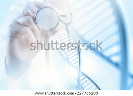 Double exposure of scientist doctor hand holds virtual molecular structure in the lab as concept  - stock photo