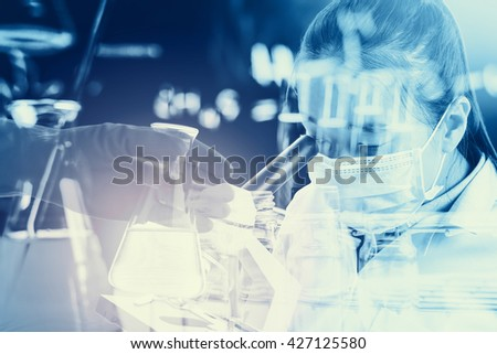 Double exposure of Scientists or doctor is using microscope with Laboratory glassware containing chemical liquid, science research concept,vintage process style