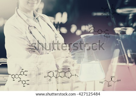 Double exposure of Scientists or doctor with Laboratory glassware containing chemical liquid, science research concept,vintage process style - stock photo
