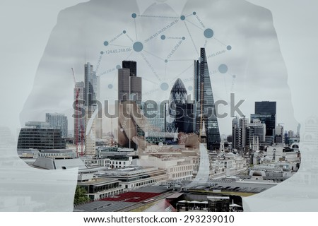 Double exposure of success businessman using smart phone and social media diagram with london city blurred background - stock photo