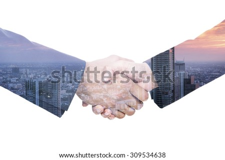 Double exposure of two Businessmen shaking hands. Isolated on white background. - stock photo