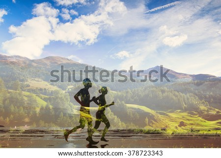 double exposure of two runners, eco trail in the nature, sport race competition, triathlon or marathon
