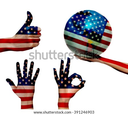 Double exposure of USA flag over the human hands