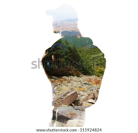 Double exposure of woman climber and mountain stones. Young female tourist traveling with backpack through green hills. Concept of extreme and overcoming.  - stock photo