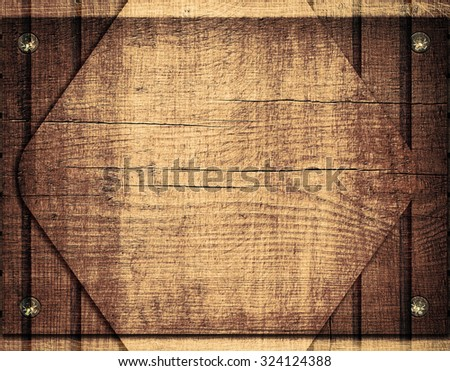 Double exposure of wooden rhombus and brown planks wall