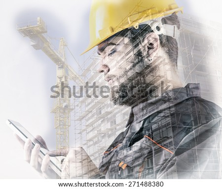 Double exposure of worker with protective helmet in front of construction site, filters were used to achieve specific look