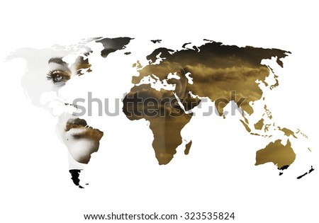Double exposure of world map and girl abstract sunset portrait - stock photo