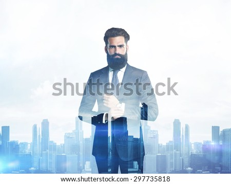 Double exposure of young business man and city on the sunset - stock photo