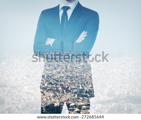 double exposure of young businessman in blue sky