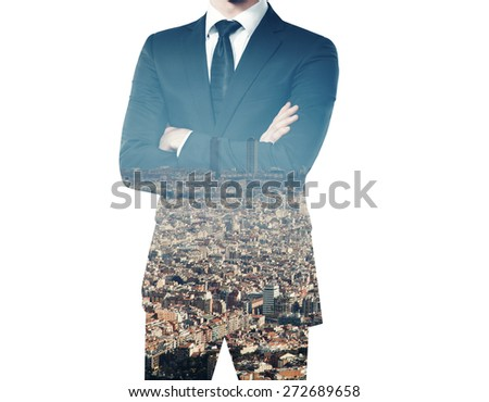 double exposure of young businessman in suit  - stock photo