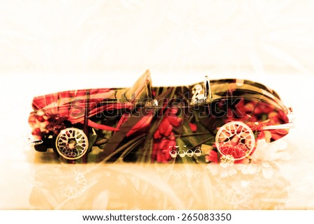 Double exposure old classic car with flower background - stock photo