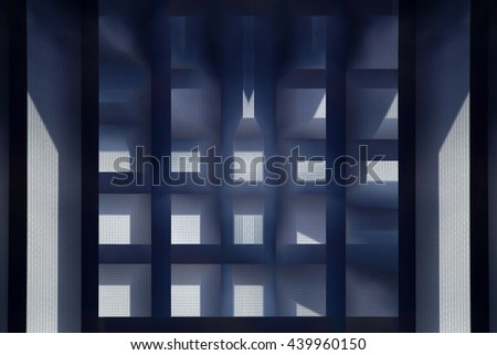 Double exposure photo of jalousie / blinds. Regular cellular structure with metaphorical relation to modern architecture, industry, technology or science. - stock photo