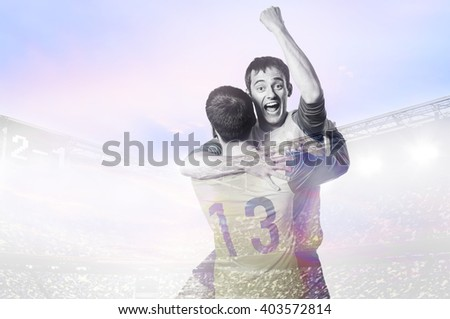 double exposure photo of stadium and soccer or football players celebrating goal