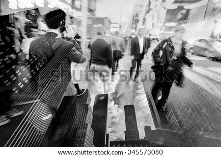 double exposure picture of business people walking in the city and skyscrapers of New York City - stock photo