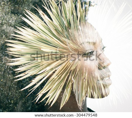 Double exposure portrait - stock photo