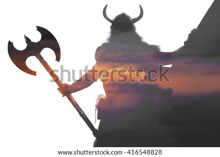 Double exposure portrait of a strong viking on ship with helmet and sword on sunset isolated on white background.