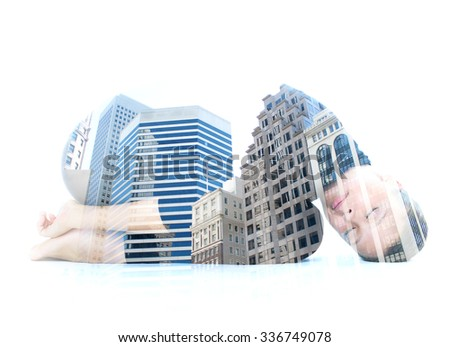 Double exposure portrait of a young woman performing yoga asana, combined with photograph of a downtown buildings - stock photo