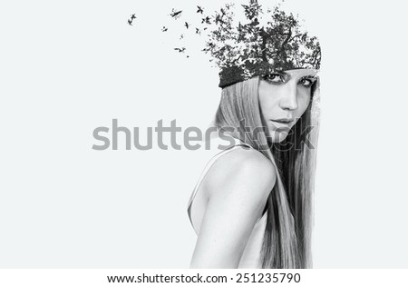 double exposure portrait of attractive girl - stock photo