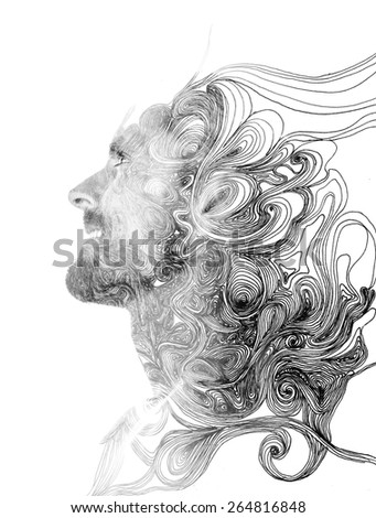 Double exposure portrait of attractive man combined with hand drawing - stock photo