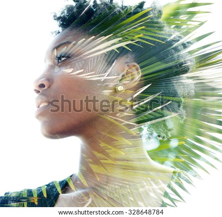Double exposure portrait of attractive woman combined with photograph of palm tree - stock photo