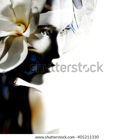 Double exposure portrait of beautiful young woman and blooming magnolia tree branch with flowers and bud isolated on white background - stock photo