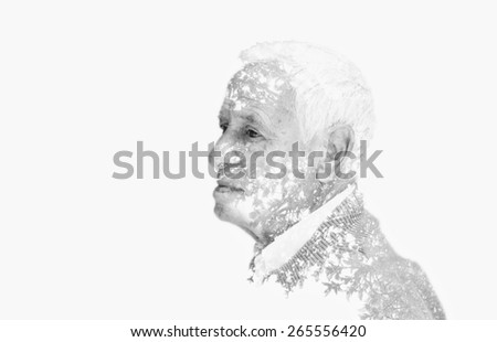 Double exposure portrait of senior man. black and white image, vintage effect