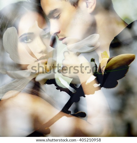 Double exposure portrait of sexy passion couple and blooming spring magnolia branch.