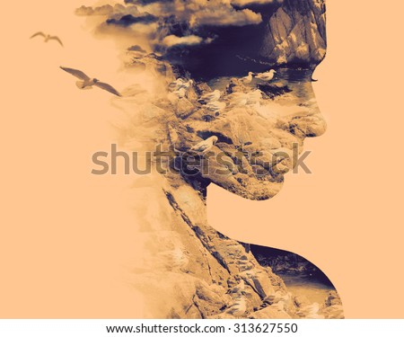 Double exposure portrait of young woman and nesting birds on the coast. - stock photo
