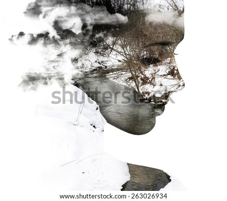 Double exposure portrait of young woman and spring river. - stock photo