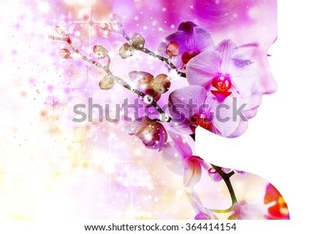 Double exposure portrait of young woman with orchid.
