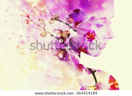 Double exposure portrait of young woman with orchid. - stock photo