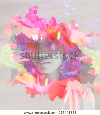 Double exposure portrait of young woman with rose flowers - stock photo