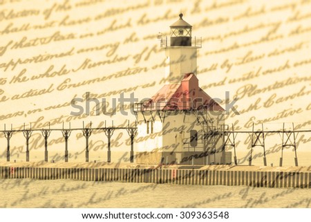 Double exposure St. Joseph north pier lighthouse along shoreline of Lake Michigan with old writing background - stock photo