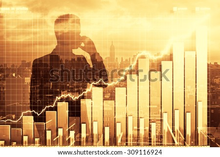Double exposure with business graph and man talking on cell phone - stock photo