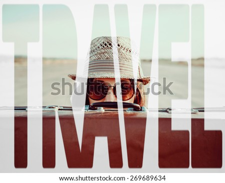 Double exposure word travel combined with image of traveler woman with suitcase. Concept of travel - stock photo