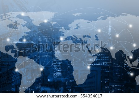 Double exposure world map and connection line on city background. Elements of this image furnished by NASA