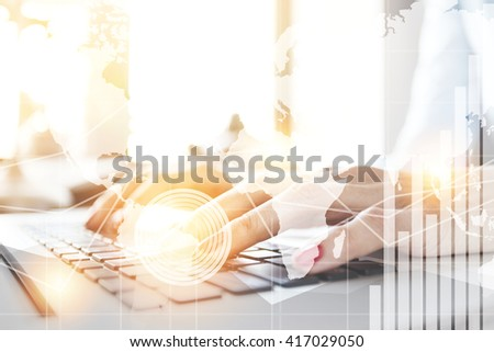 Double exposure, worldwide connection interface. Student girl in casual shirt preparing for exams while using computer. Young female freelancer working in café using wireless Internet. Selective focus - stock photo