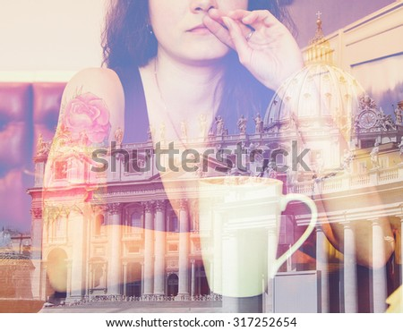 Double exposure: young beautiful hipster tattooed woman with red curly hair at the bar with cup of coffee. Vintage style picture - stock photo