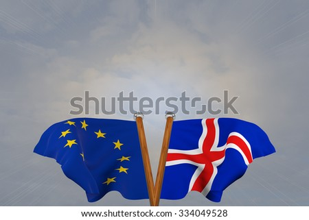 Double flags European Union and Iceland , joined on v-shaped wooden pole