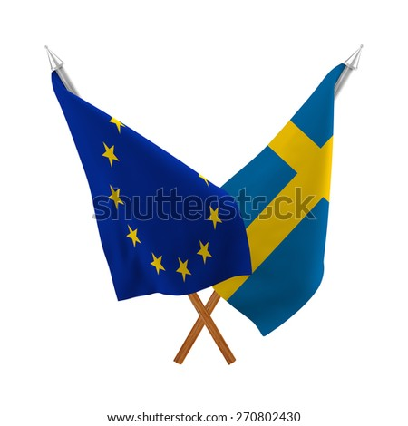 Double flags, partnership of Sweden and European Union on white background, isolated