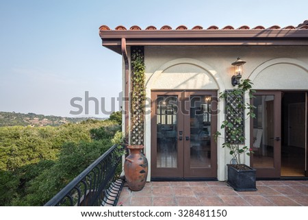 Double french doors in Mediterranean home. - stock photo