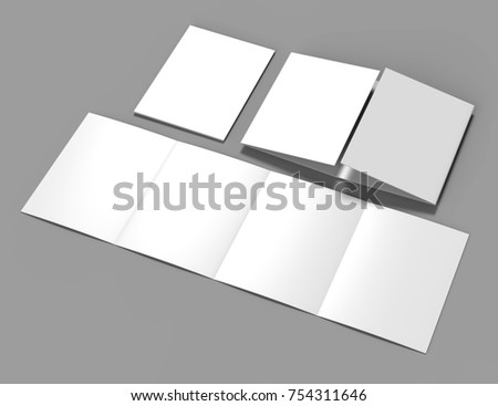 double gate fold brochure blank whiteのイラスト素材 754311646
