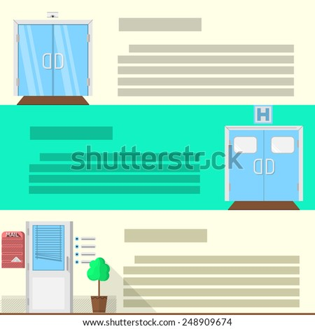 Double glass door, hospital entrance and office doors with decoration elements. Set of flat colored icons with place for text for some building advertising. - stock photo