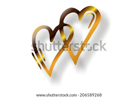 double golden heart silhouette - stock photo