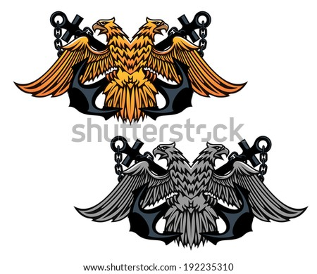 Double head eagle with vintage anchor for heraldry or tattoo design. Vector version also available in gallery - stock photo