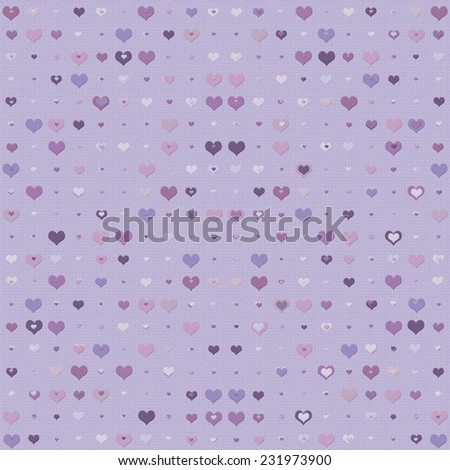 Double heart background in shades of lilac - stock photo