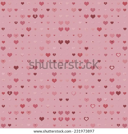 Double heart background in shades of pink and red