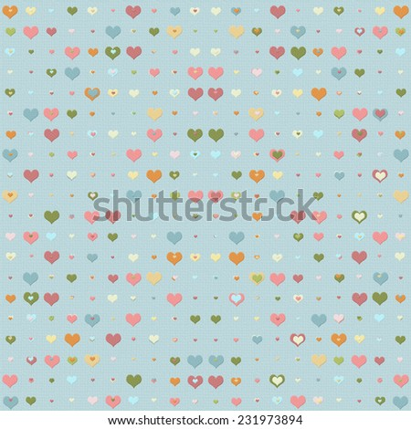 Double heart background with multicolored hearts