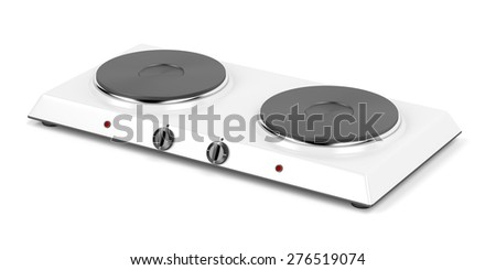 Double hot plate on white background - stock photo