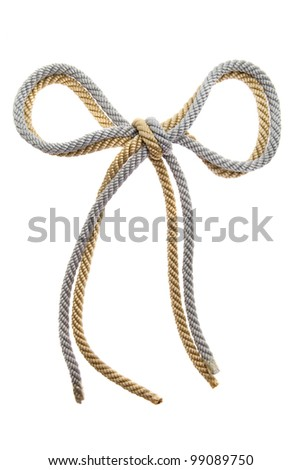 Double Knot on a gold and silver rope isolated